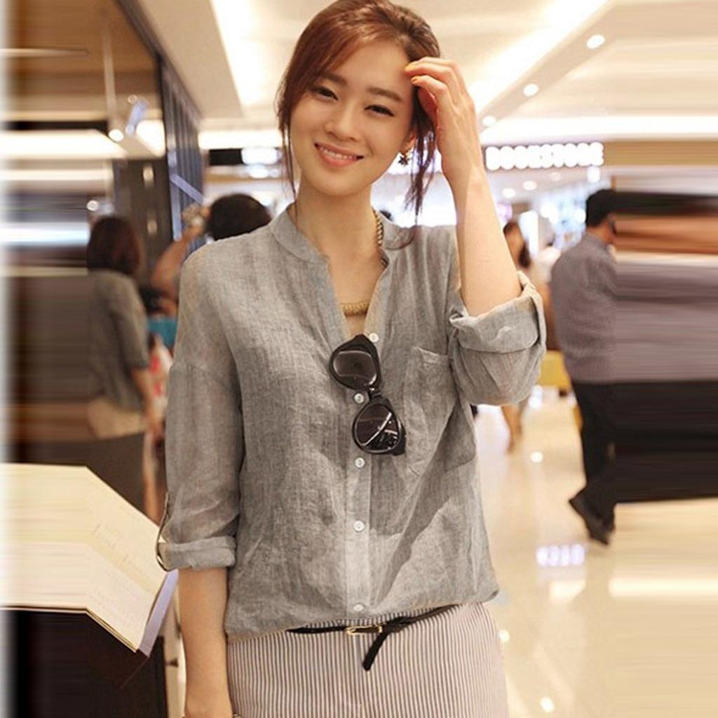 Spring Linen Women Shirt Female TShirt Top Three Quarter Sleeve Casual Turn-down Collar OL Style Women Loose Blusas Solid Shirt