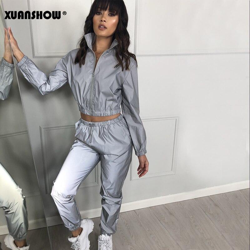 Xuanshow feminino windbreak conjunto reflexivo de duas peças conjunto casual hip hop jaquetas noite luz roupas longo calça terno 2019 mais tamanho|Conjuntos femininos| - AliExpress