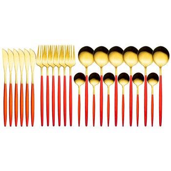 24pcs Gold Dinnerware Set Stainless Steel Tableware Set Knife Fork Spoon Luxury Cutlery Set Gift Box Flatware Dishwasher Safe - red gold