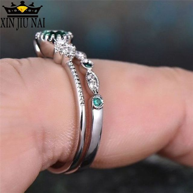 3 Colors Stackable Double Rings Sets For Women 925 Silver Round Green Blue Zircon Stone Engagement Female Birthstone Ring 5