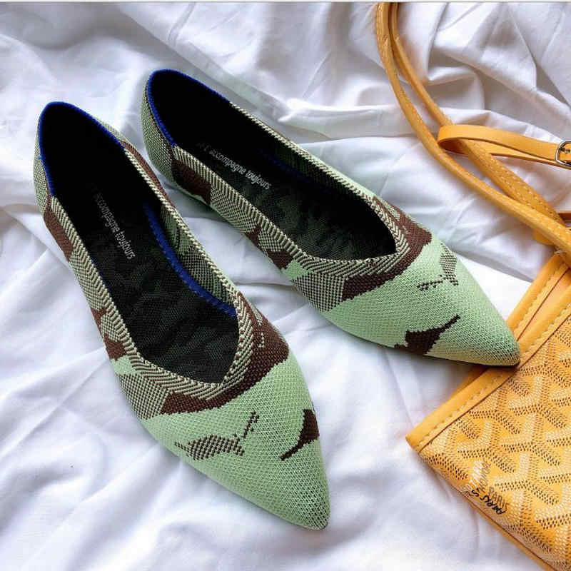 รองเท้าผู้หญิงรองเท้าผู้หญิง Pointy บัลเล่ต์ Slip-on Loafers Soft Sole 3D ถักตั้งครรภ์รองเท้าแตะผู้หญิงรองเท้าเรือรองเท้าสบายๆ