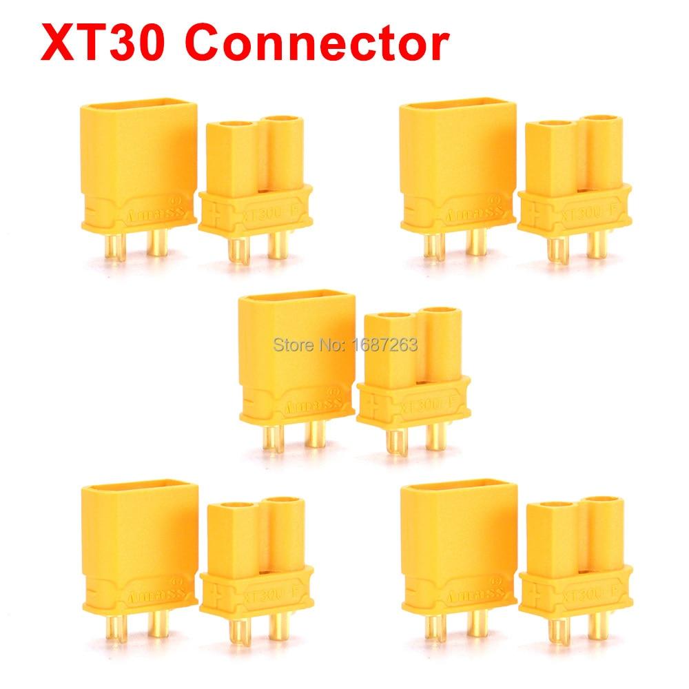 """10 пар XT30 XT30U XT60 XT60H XT90 EC2 EC3 EC5 T разъем батареи набор мужской женский Позолоченный разъем типа """"банан"""" для RC частей - Цвет: 5pairs Amass XT30"""