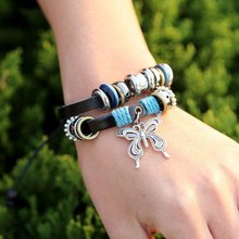 Vintage Leaf Feather Multilayer Leather Bracelet Men Fashion Braided Handmade Star Rope Wrap Bracelets & Bangles Male Gift vintage leaf rope bracelet for women