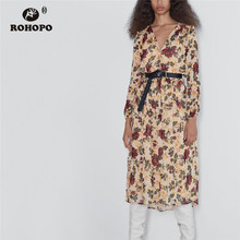 цена на ROHOPO Red Floral Long Sleeve Khaki Printed Midi Dress Peplum Overlockded Neckline Top Button Fly Pleated Vestido #9771