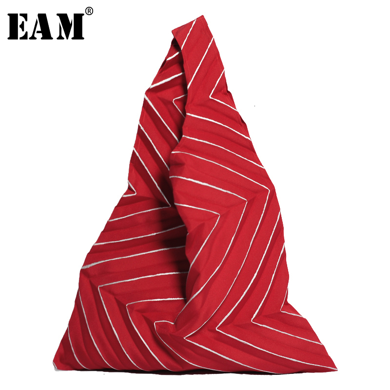 [EAM] Women New Red Pleated Split Joint Three-dimensional Personality Accessories Fashion All-match Spring Autumn 2020 19A-a192