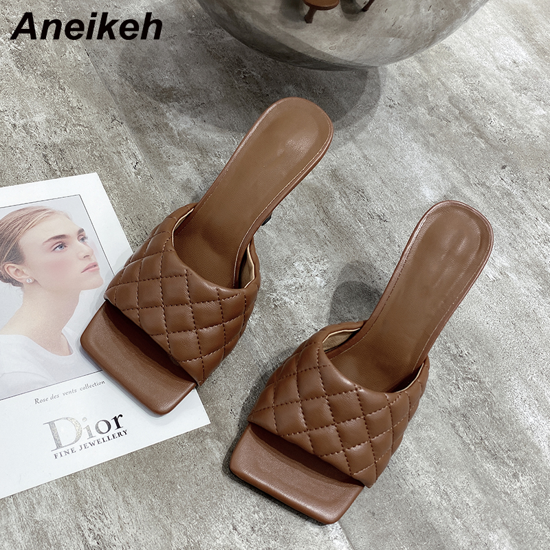 Aneikeh NEW 2020 Square Toe Thin High Heel Women Sandals Fashion Slip On Summer Beach Slippers Lady Shoes White Brown Blue Black