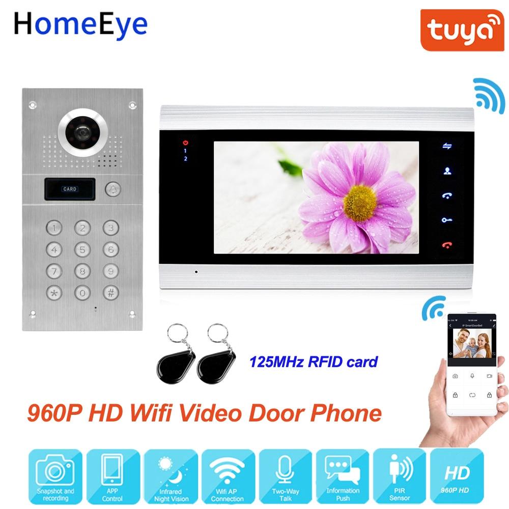 Tuya Smart App Remote Control WiFi IP Video Door Phone Video Intercom Access Control System Motion Detection Code Keypad ID Card