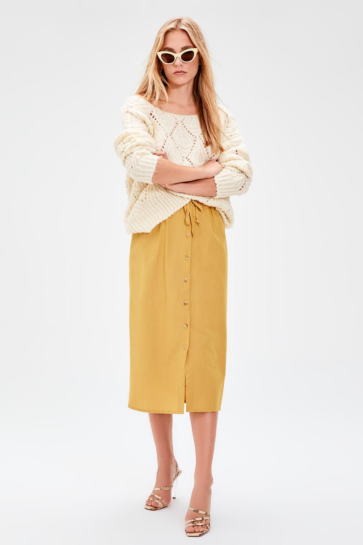 Trendyol Mustard Button Detail Skirt TWOAW20ET0028