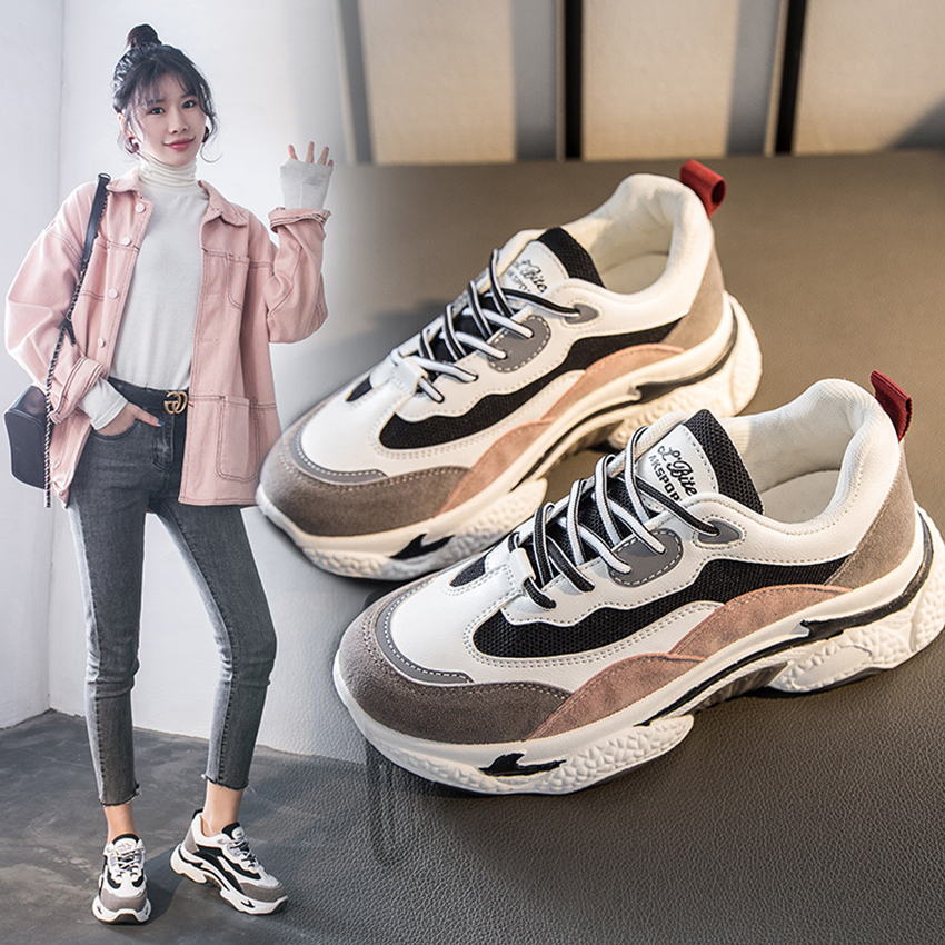 BIMUDUIYU New Chunky Sneakers Women Fashion Designer Old Dad Shoes Comfortable Female Vulcanize Shoes Ladies Platform Footwear
