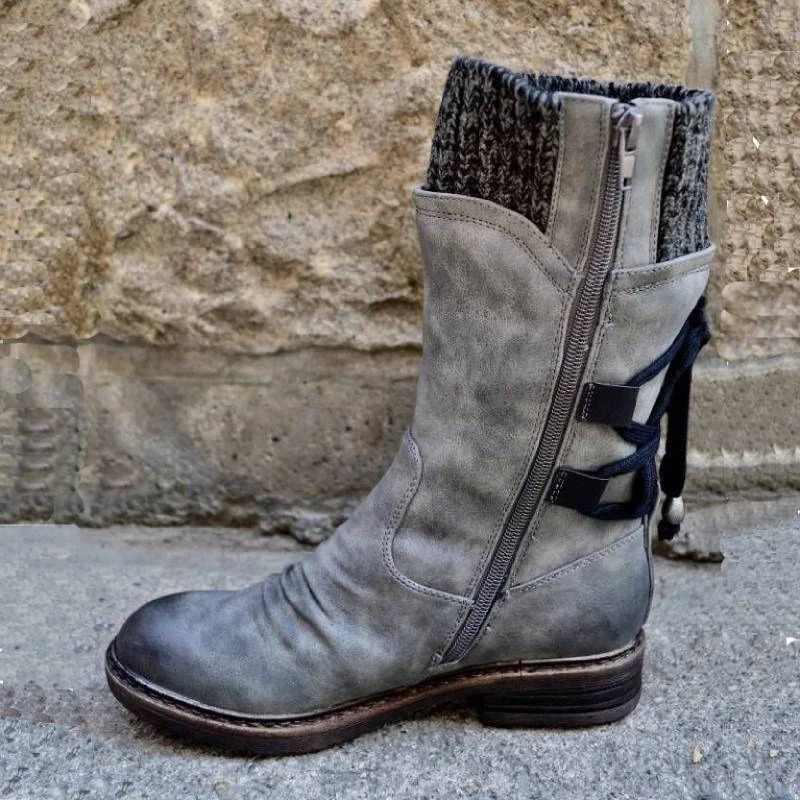 Dropping Winter Schnee Stiefel Frauen Zipper Fashion PU Leder Mid-Kalb Mit Zurück Lace-up Design Solide Low ferse Schuhe