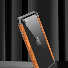 R-JUST Luxury Aluminum Metal Wood Bumper Case for i