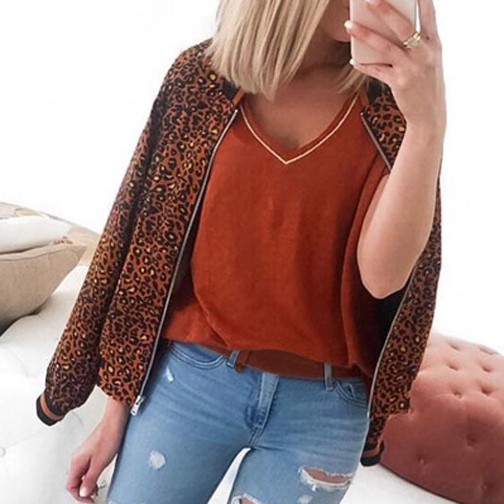 Women Leopard Coat Autumn Winter Long Sleeve Cardigans Pullover Blouse Open Front Jacket Coat Long Outerwear Camisetas Mujer#G2