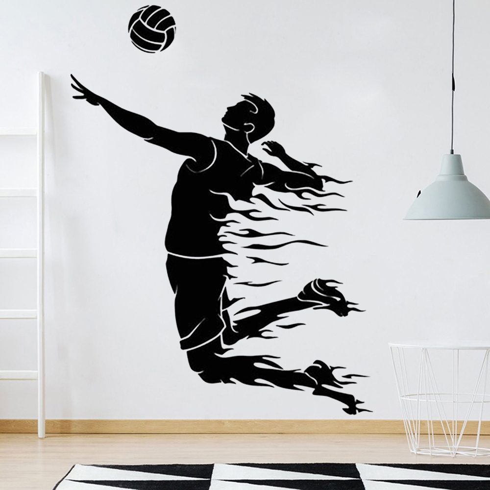 Volleyball Wall Decals Exercise Room Art Decoration Pulsation Ball Sport Vinyl Gym Wall Stickers Home Decor Teen Room Z120