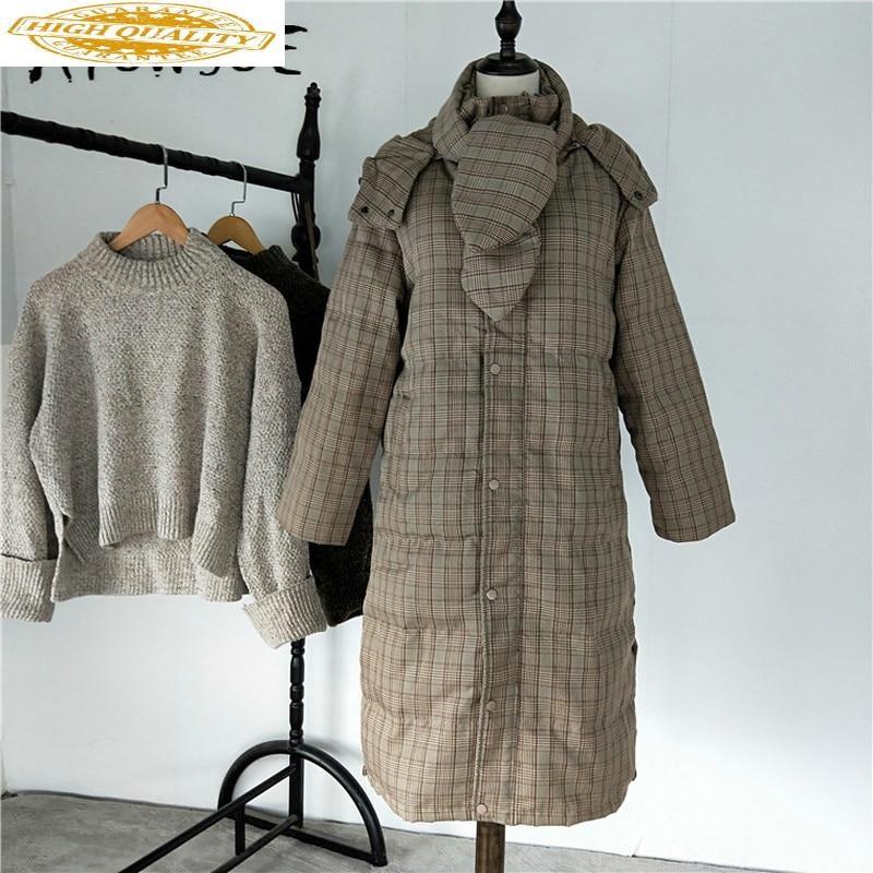 Winter Coat Women Down Coat Korean Plaid White Duck Down Jacket Women Hooded Puffer Jacket Warm Parka Casaco YY1514