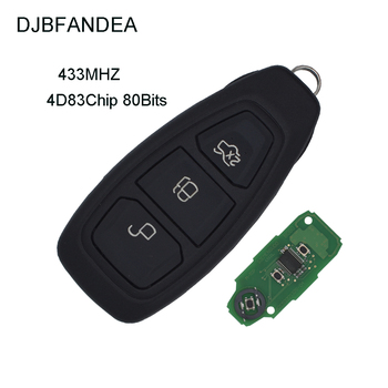 DJBFANDEA 3PCS/LOT 3Buttons Remote Car Keyless Entry Fob For Ford Focus C-MAX Fiesta With 433MHz 4D83 80Bit Chip HU101 Blade