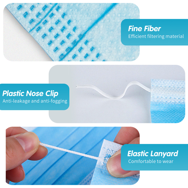 100Pcs Disposable Face Mask Airborne Protective Mask 3-layer Ear Loop filter mouth mask for face respirator 2