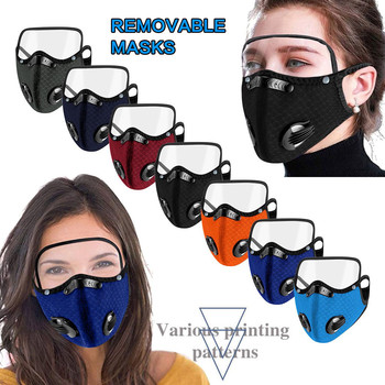 Mask for face With Filter Adult Reusable Masque Pm2.5 Breathable Mouth Mask Unisex Protection Mask With Eyes Shield Detachable image