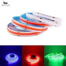 Cob led luz de tira alta densidade flexível fob cob 384/528leds/m luzes fita azul/verde/vermelho linear regulável dc12v/24v