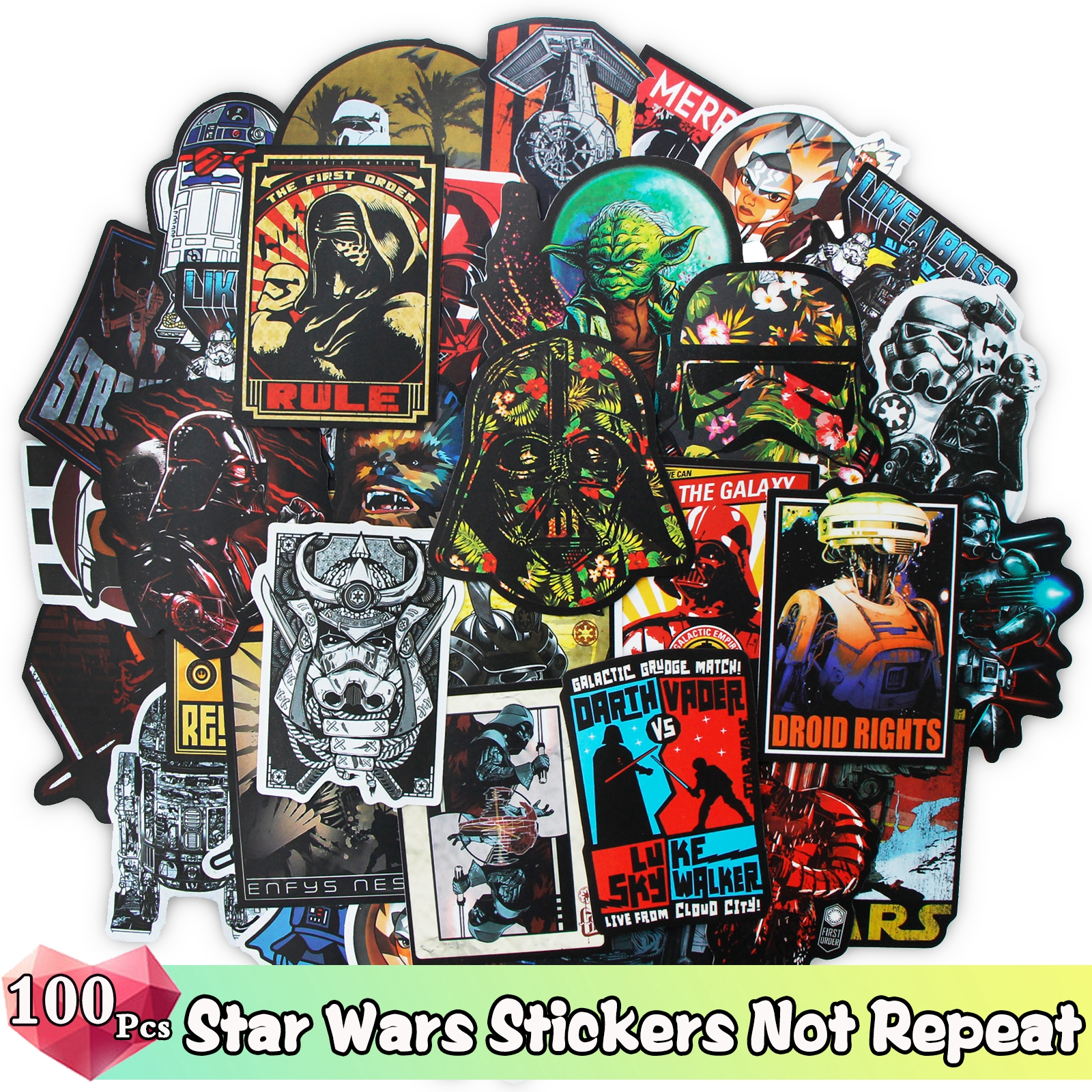 100/50 /25 Pcs Mixed Style Stickers For Star Wars Cartoon Funny Stickers For Skateboard Luggage Bicycle Laptop Guitar Decals Toy