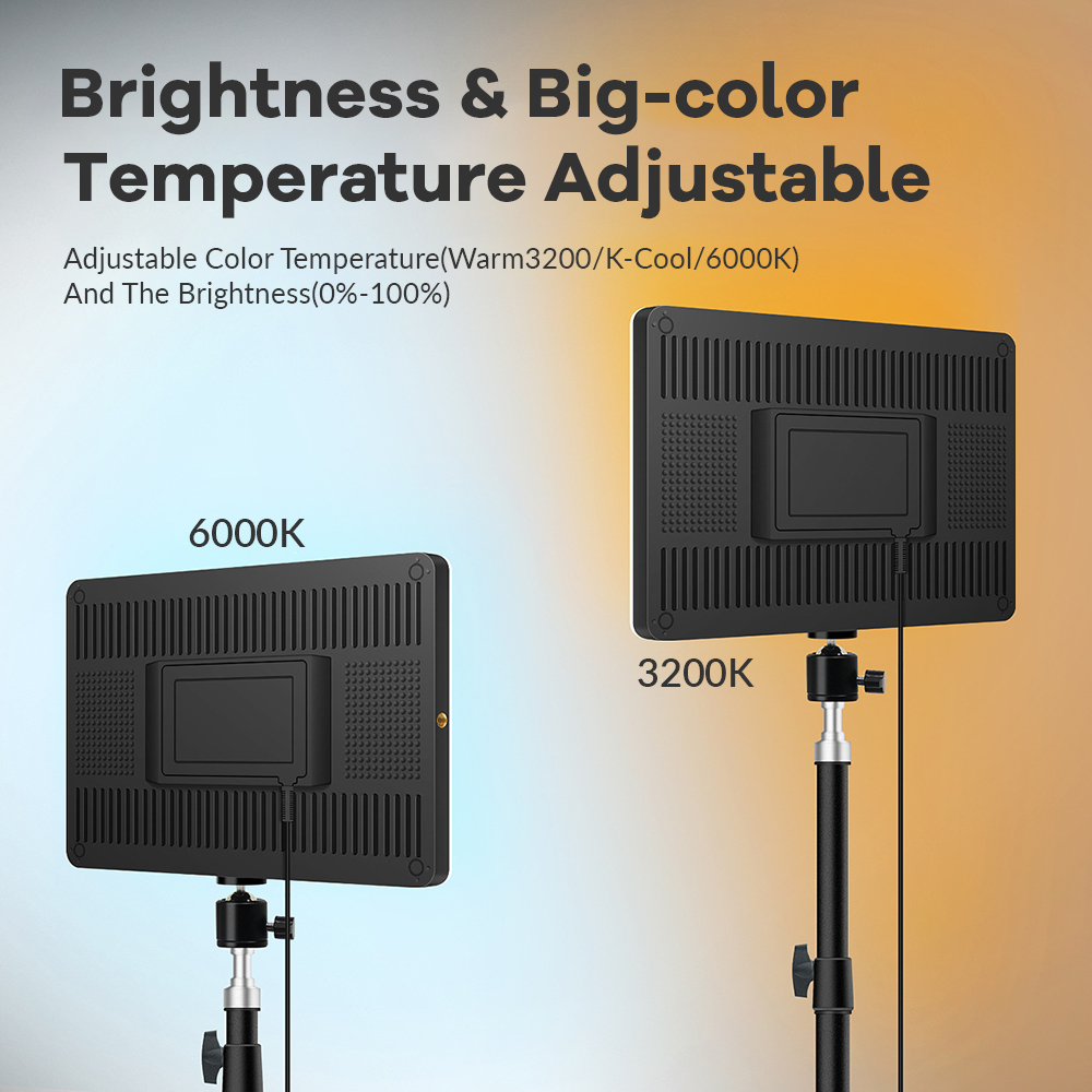 H11535ae31d7f40aca10793de8cb275b32 Dimmable LED Video Light Panel EU Plug 2700k-5700k Photography Lighting For Live Stream Photo Studio Fill Lamp Three Color