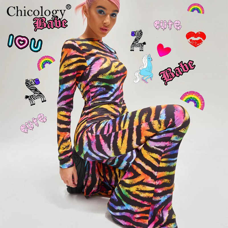 Chicology rainbow zebra print backless flare long pants jumpsuit 2019 summer women party sexy club streetwear female clothing