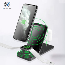 KSTUCNE 3 in 1 Wireless Charging Stand For  iPhone 12 11 XS X 8 Airpods Pro Apple Watch 6 5 4 3 15W Qi Fast Charger Dock Station