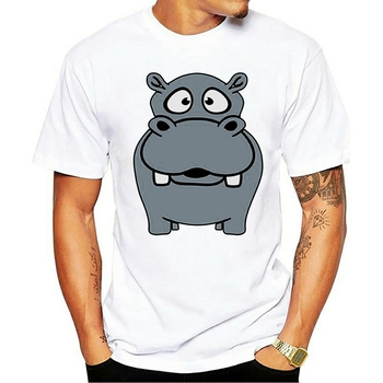 Personality Nilpferd Small Thick Sweet Cute Comic Cartoon Hipp T Shirt For Mens Crew Neck Leisure Men T-Shirts image