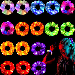 2020 New Girls LED Christmas Scrunchies Hairband Ponytail Holder Headwear Elastic Hair Bands Solid Color Hair Accessories