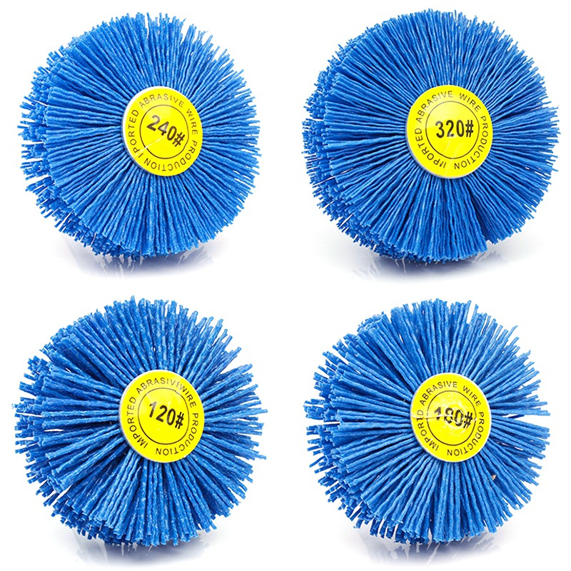 4 Pieces 80x30x6Mm Drill Abrasive Wire Grinding Wheel Nylon Bristle Polishing Brush For Wood Furniture Mahogany Finish
