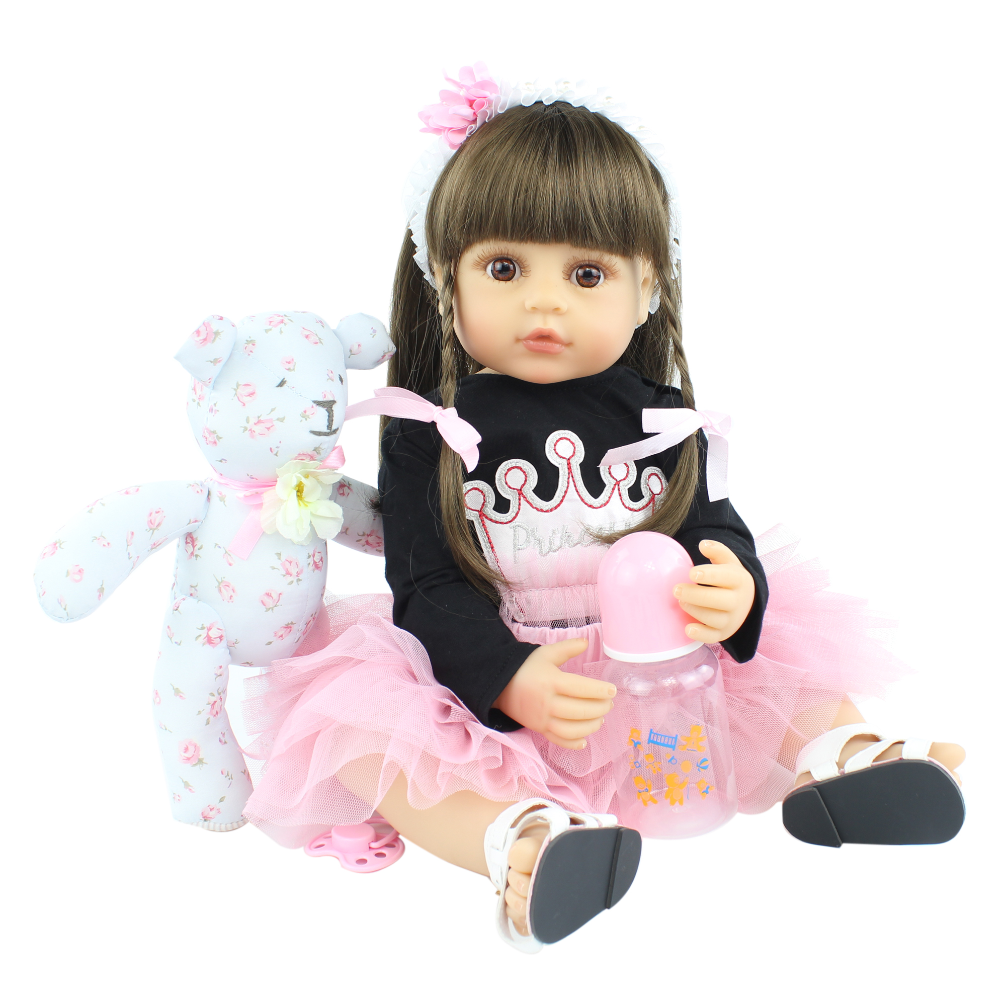 55cm silicone cheio reborn bebê boneca para menina vinil longo cabelo princesa criança criança criança presente de aniversário jogar casa vestir-se brinquedo banho