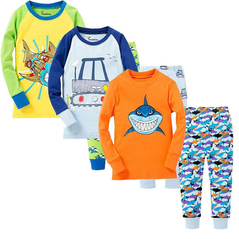 SAILEROAD Children's Pajamas Set Shark Dinosaur Pajamas Kids Christmas Pyjamas Animals Printed Pijama Girl Cotton Sleepwear Suit