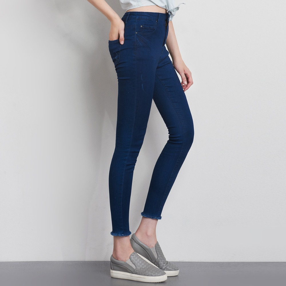 LEIJIJEANS Fashion Autumn Leggings Blue S 6XL Woman Mid Waist Plus Size women High Elastic Full Length Pants Skinny pencil Jeans 22