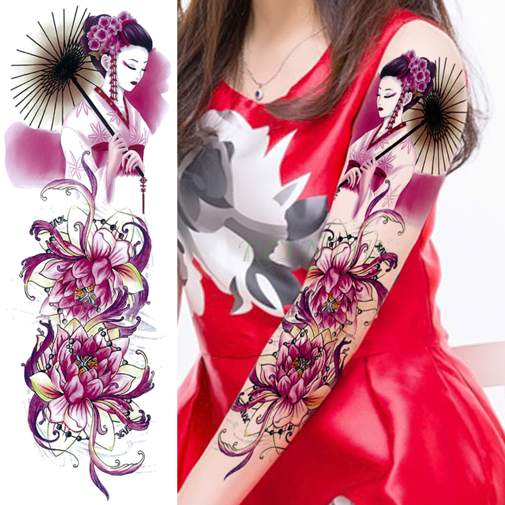 Waterproof Temporary Tattoo Sticker Full Whole Arm Large Size Sexy Lotus Tatto Stickers Flash Tatoo Fake Tattoos For Women Girl