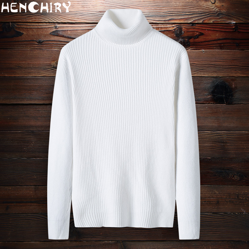 HENCHIRY Oversize Men'S Sweater 2019 Sweaters For Men Sweater Men's Casual Winter Men's Fashion Solid Color Turtleneck Uyuk Man