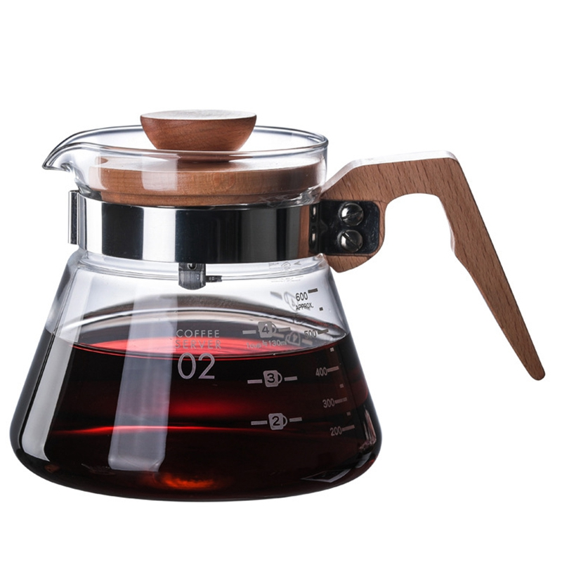 600Ml Glass Coffee Pots Decanter Carafe High Borosilicate Glass Hand Coffee Pot High Temperature Resistant Wooden Handle Glass C|Coffee Pots| |  - title=