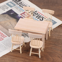 1Set Dining Table Chair Model 1:12 Dollhouse Miniature Wooden Furniture Toy Set High Quality