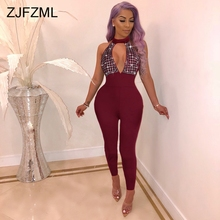 Glitter Rhinestones Sexy Jumpsuits For Women Off The Shoulder Backless Bodycon R