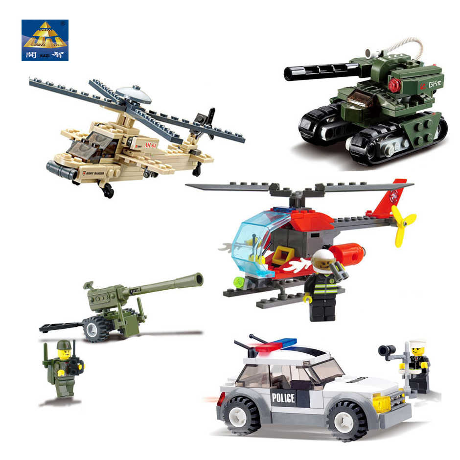 KAZI Police Car Cannon Tank Apache Helicopter Aircraft Model DIY Building Blocks Bricks compatible legoingly  Toys for children