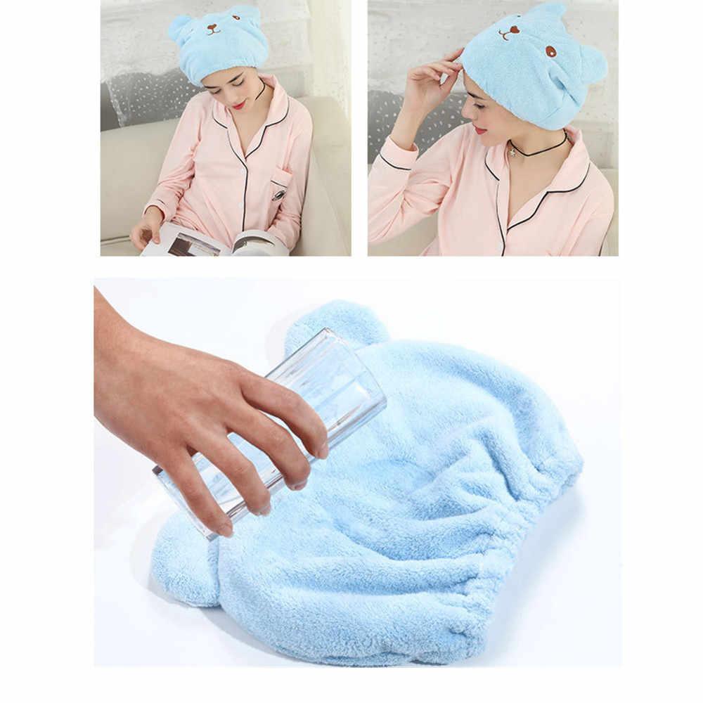 1 PC Hot ไมโครไฟเบอร์ Turban ผมแห้งได้อย่างรวดเร็วหมวกห่อผ้าขนหนูหมวกอาบน้ำ Super ดูดซับหมีรูปร่าง toalla microfibra f1015