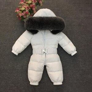 Image 4 - 2020 חורף חם למטה תינוק בני סרבלי סלעית נדל פרווה בנות Rompers ארוך שרוול יוניסקס סרבל תינוקות סרבל פעוט חליפת שלג