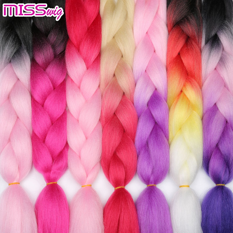 MISS WIG Braiding Synthetic Hair 88Colors Available 24Inch Crochet Blonde Hair For Women Extensions Jumbo Braids Hairstyles
