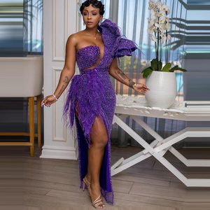Image 3 - African Dresses For Women Purple Beading With Tassels High Slit One Shoulder Floor Length Evening Formal Long Gowns 2020