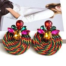 Pendientes de cristal coloridos para mujer, aretes de gota redondos hechos a mano de alta calidad, diseño de moda, accesorios de joyería para mujer
