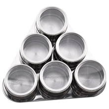Magnetic Spice Jar Salt Holder Box Shaker for Spices Cans Container Pepper Box Kitchen Seasoning Powder Storage, 6PCS