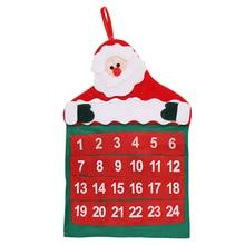 1Pc Advent Calendar Christmas Decorations 43X29cm Santa Claus Calendar Christmas Tree Decorations Pendant New Year Home Decor 90cm christmas calendar christmas decorations for home santa claus snowman countdown calendar new year christmas gift