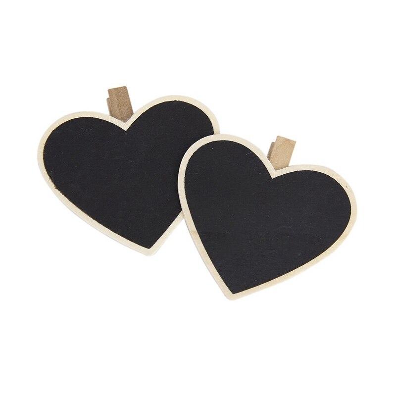HOT-8xheart-shaped Blackboard Wooden Peg Photo / Notebook / Paper Clip
