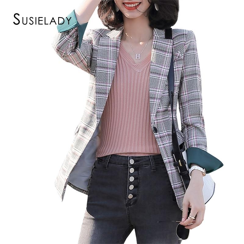 Vintage Plaid Women Blazer One Button Business Blazers For Work Casual Basic OL Blazers Split Cuffs Blazer For Women