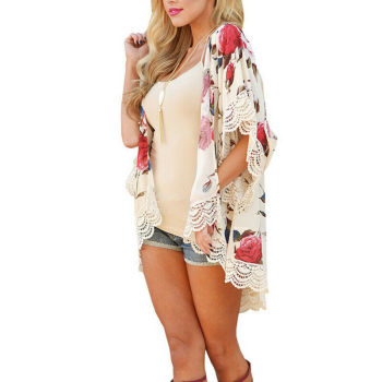 Boho Summer Women`s Beach Chiffon Floral Printed Cardigan Shawl Kimono Bikini Cover Up Tops Shirt
