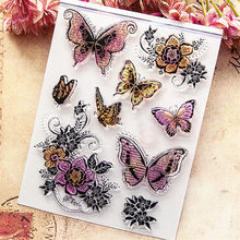 14*18CM Hot sale Butterfly flying Clear Stamps / Silicone Seals Roller Stamp for DIY scrapbooking photo album/Card Making(China)