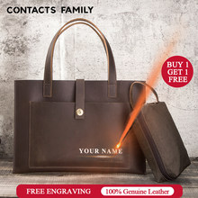 "CONTACT'S Keluarga Genuine Leather Laptop Sleeve Case Tas untuk 12 15.6 16 Inch 2020 Notebook Tas untuk Macbook Udara Pro 13.3 ""15""(China)"
